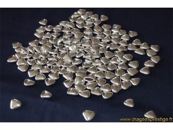 Dragées chocolat mini-coeur argentées