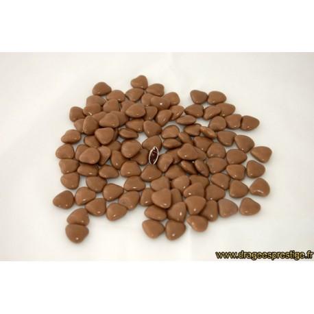Dragées chocolat mini-coeur taupe 1kg