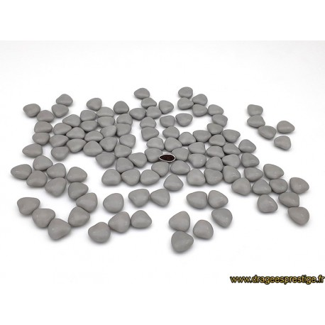 Dragées chocolat mini-coeurs Prestige gris clair 1kg