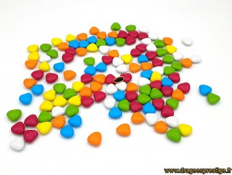 Dragées chocolat mini-coeur multicolore 1kg