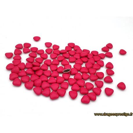 Dragées chocolat mini-coeur fuchsia 1kg