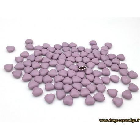 Dragées chocolat mini-coeur lilas 1kg