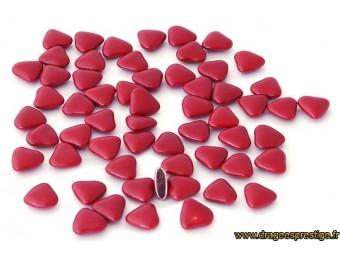Dragées chocolat mini-coeur bordeaux