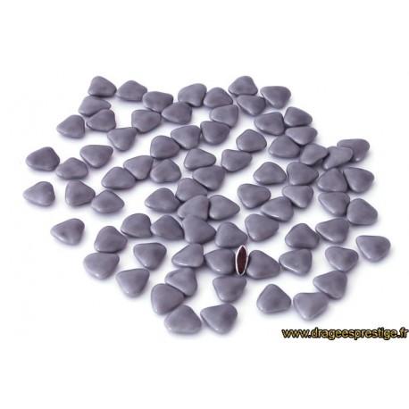 Dragées chocolat mini-coeur gris