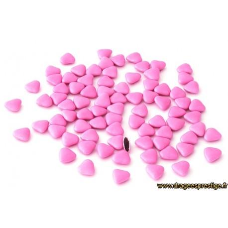 Dragées chocolat mini-coeur rose