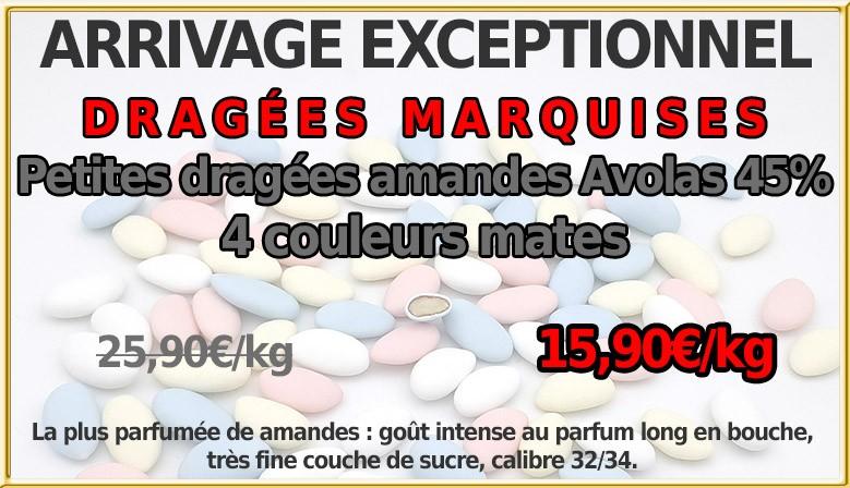 PROMO : Petites dragées amande Avolas Marquise, 4 couleur mates